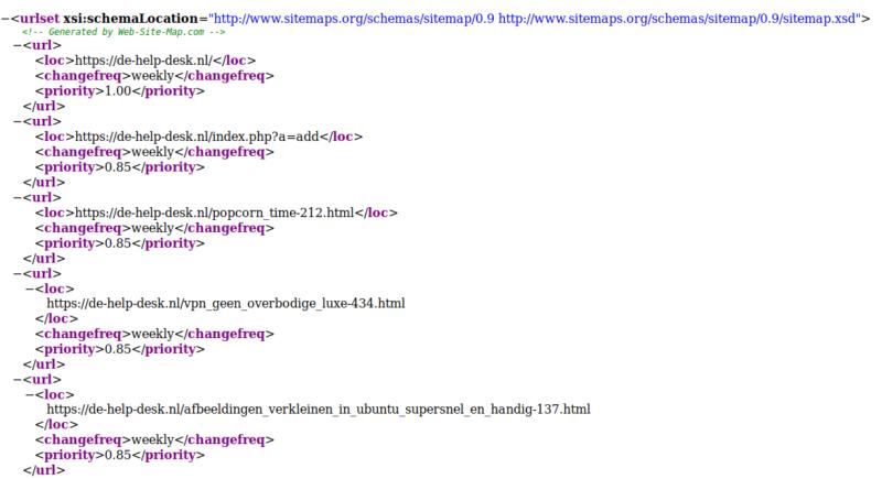 voorbeeld van een sitemap